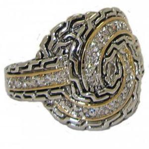 NWT ring Two 2 Tone cz white 18 karat gold plate